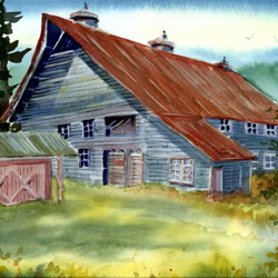 trans water color barn